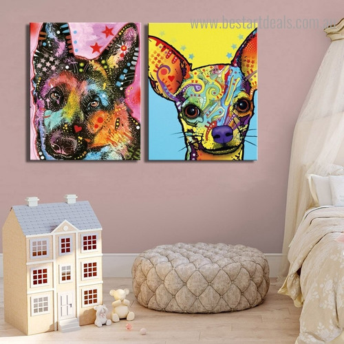 Shepard Chihuahua Dean Russo Animal Pop Framed Portraiture Picture Canvas Print for Room Wall Decor