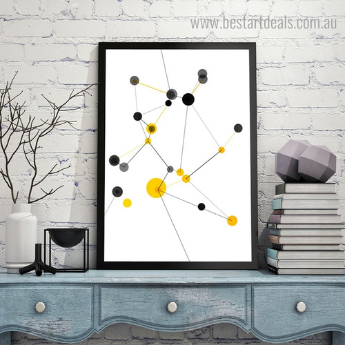Dotted Streaks Abstract Geometric Modern Framed Painting Photograph Canvas Print for Room Wall Drape