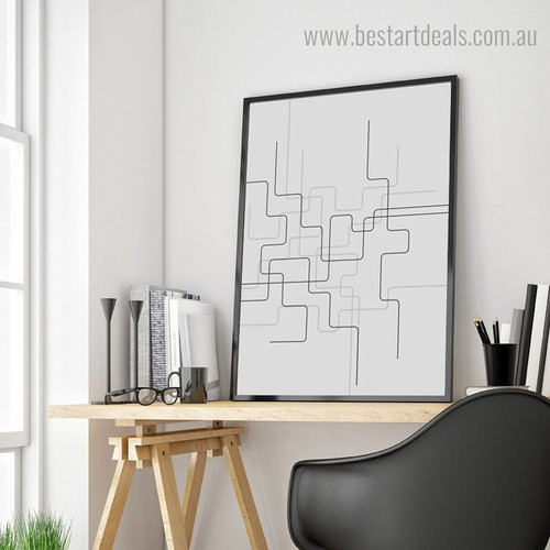 Zigzag Lines Abstract Geometric Modern Framed Painting Photo Canvas Print for Room Wall Finery
