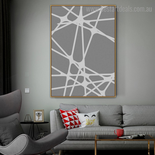 Cross Lines Abstract Geometric Modern Framed Painting Pic Canvas Print for Room Wall Tracery