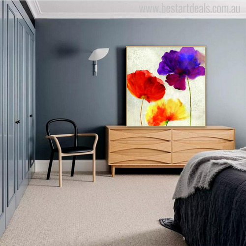 Abstract Watercolor Poppy Flowers Painting Canvas Print for Wall Decor