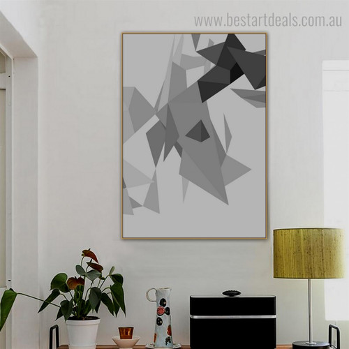 Monochrome Triangles Abstract Geometric Modern Framed Painting Pic Canvas Print for Room Wall Outfit