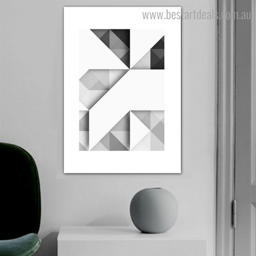 Triangular Square Abstract Geometric Modern Framed Artwork Image Canvas Print for Room Wall Onlay