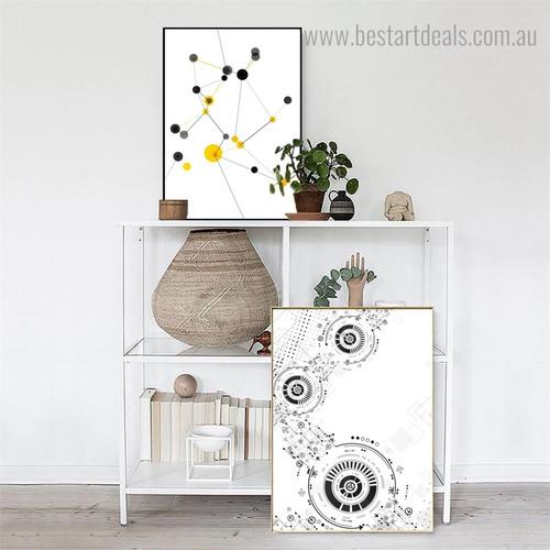 Circular Direction Abstract Geometric Modern Framed Artwork Photo Canvas Print for Room Wall Garnish