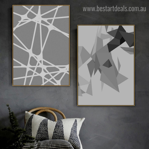 Black Triangles Abstract Geometric Modern Framed Painting Pic Canvas Print for Room Wall Getup