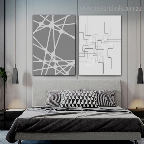 Zigzag Streaks Abstract Geometric Modern Framed Painting Picture Canvas Print for Room Wall Ornament