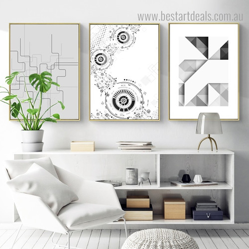 Triangular Setting Abstract Geometric Modern Framed Artwork Picture Canvas Print for Room Wall Assortment