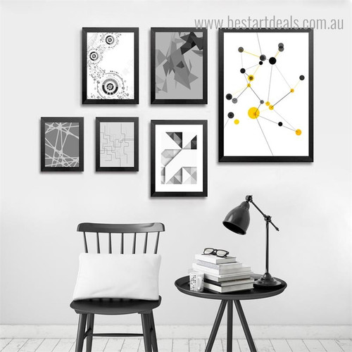 Geometric Figures Abstract Modern Painting Photo Canvas Print for Room Wall Tracery