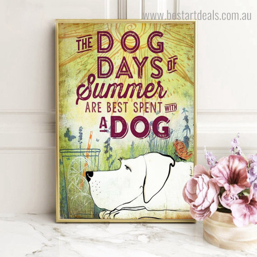 Summer Dog Animal Quote Modern Framed Painting Picture Canvas Print for Room Wall Outfit