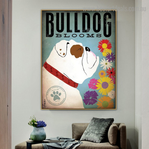 Bulldog Bloom Animal Quote Modern Framed Artwork Pic Canvas Print for Room Wall Flourish