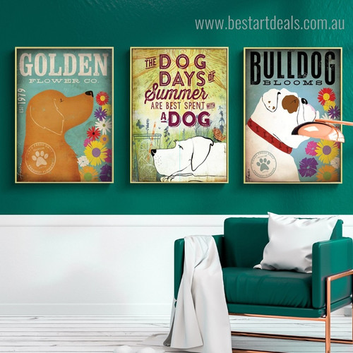 Summer Bulldog Animal Floral Quote Modern Framed Painting Photo Canvas Print for Room Wall Decoration