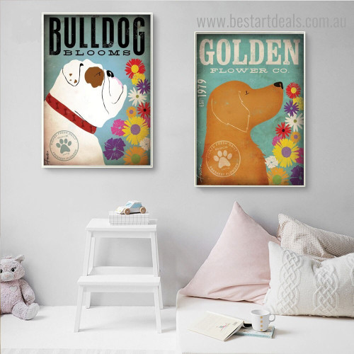 Bulldog Flower Animal Quote Modern Framed Smudge Image Canvas Print for Room Wall Onlay