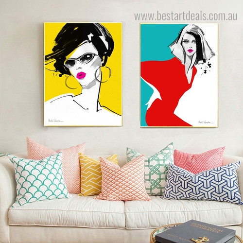 Fashion Girls Abstract Modern Framed Painting Portrait Canvas Print for Room Wall Getup