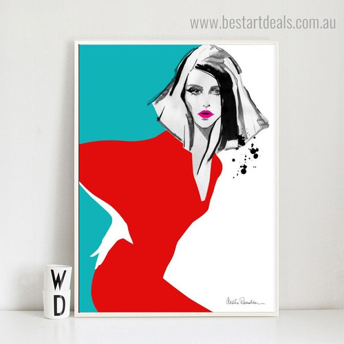 Lovely lady Abstract Modern Framed Painting Portrait Canvas Print for Room Wall Ornament