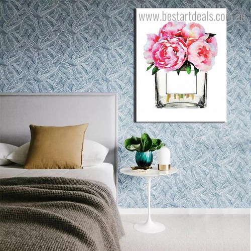 Floral Cologne Abstract Watercolor Modern Framed Portraiture Picture Canvas Print for Room Wall Getup