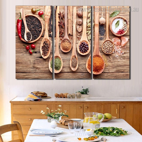 Seasoning Food and Beverage Modern Framed Portraiture Photo Canvas Print for Dining Room Wall Drape