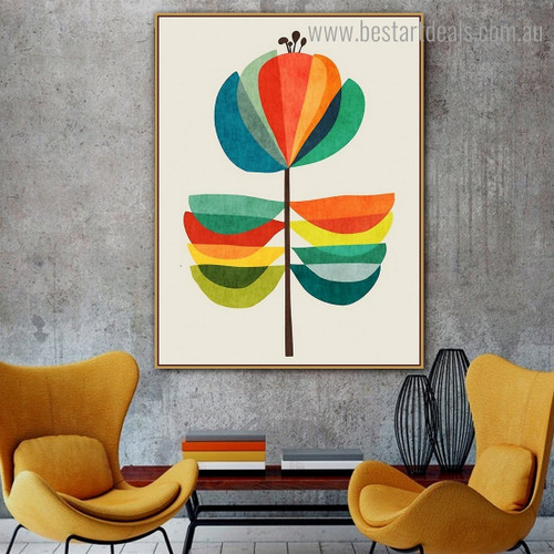 Colorful Leaves Abstract Botanical Nordic Framed Painting Picture Canvas Print for Room Wall Outfit