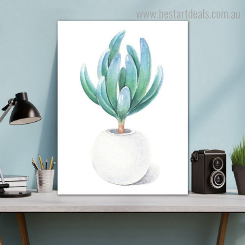 White Pot Botanical Nordic Framed Portraiture Picture Canvas Print for Room Wall Decoration