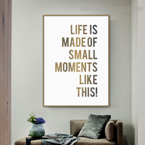 Small Moments Quote Nordic Framed Portraiture Picture Canvas Print for Room Wall Decoration
