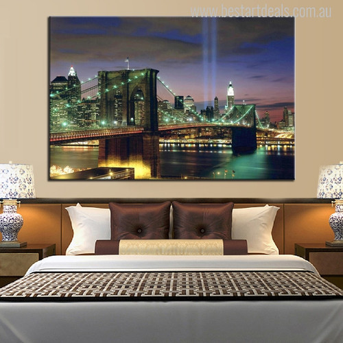 The New York City in Night Art Picture Print for Bedroom Wall Decor