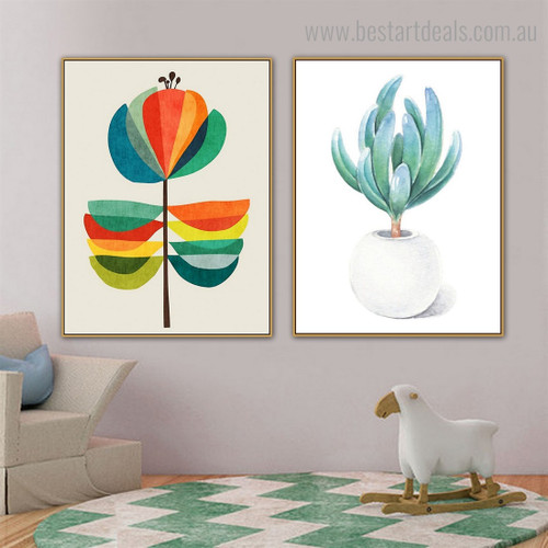 Calico Flowerpot Botanical Nordic Framed Smudge Pic Canvas Print for Room Wall Garnish