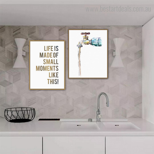 Tap Water Abstract Quote Nordic Framed Painting Pic Canvas Print for Wall Hanging Decor