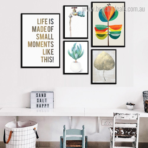 Moments Like This Abstract Botanical Quote Nordic Painting Photo Canvas Print for Room Wall Ornament