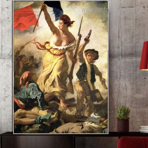 Liberty Leading the People Eugène Delacroix Reproduction Canvas Print for Room Wall Drape