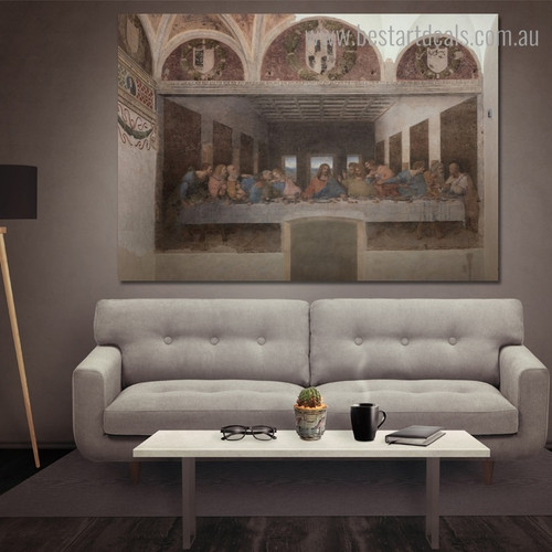 The Last Supper Leonardo Da Vinci Renaissance Reproduction Framed Artwork Photo Canvas Print for Room Wall Decor