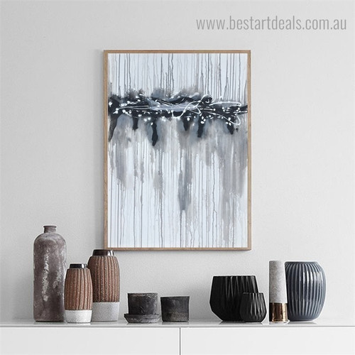 Curved Streaks Abstract Modern Minimalism Framed Painting Pic Canvas Print for Room Wall Finery