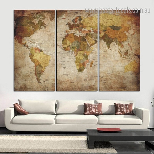 Global Mapping Watercolor Modern Framed Artwork Pic Canvas Print for Room Wall Decoration