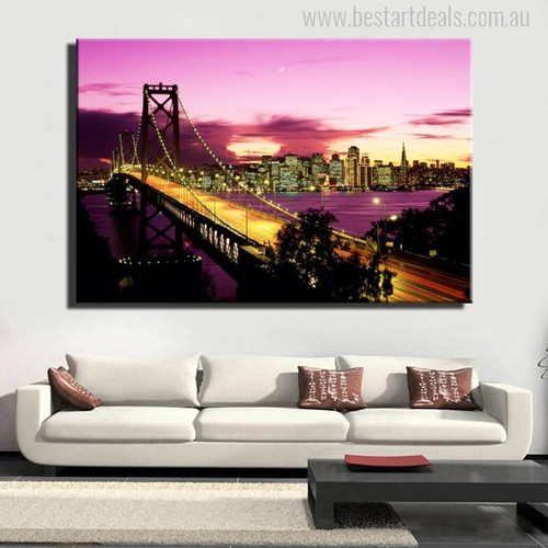 The San Francisco Bridge in Evening Picture Print for Room Wall Art