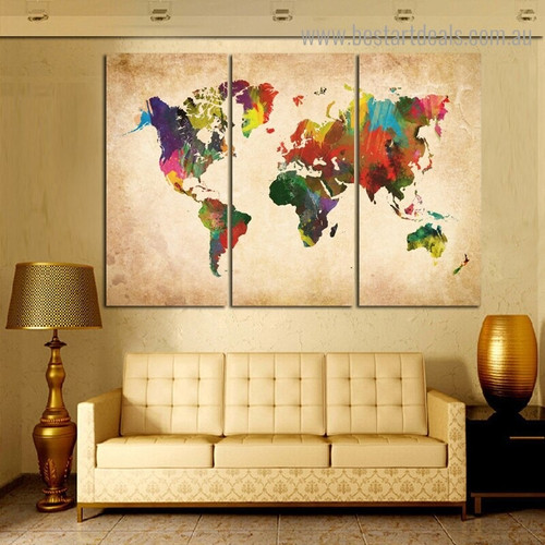 World Mapping Watercolor Modern Framed Artwork Pic Canvas Print for Room Wall Decoration