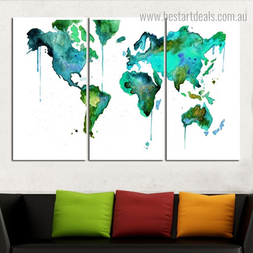 Green Cyan World Map Abstract Watercolor Modern Painting Photo Canvas Print for Room Wall Getup