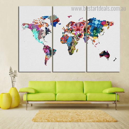 Dapple World Map Watercolor Modern Framed Artwork Photograph Canvas Print for Room Wall Garnish