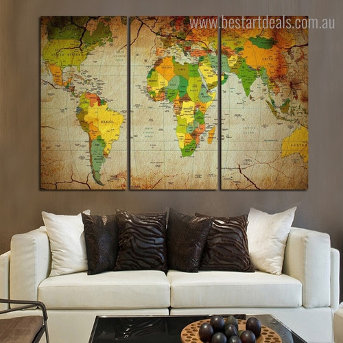 Global Map Watercolor Modern Framed Artwork Photograph Canvas Print for Room Wall Garnish