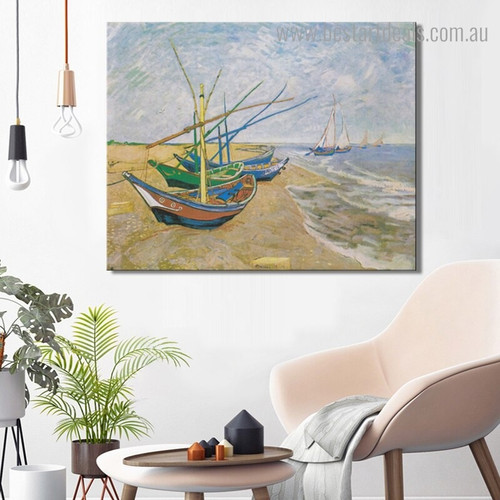 Fishing Boats Beach Vincent Van Gogh Reproduction Landscape Framed Artwork Pic Canvas Print for Room Wall Disposition