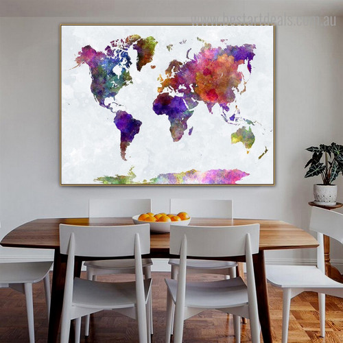 Colorific Map Abstract Watercolor Modern Framed Painting Photo Canvas Print for Dining Room Wall Outfit