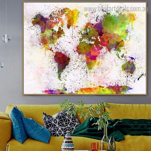 Spray World Map Abstract Watercolor Contemporary Framed Painting Photo Canvas Print for Room Wall Equipment