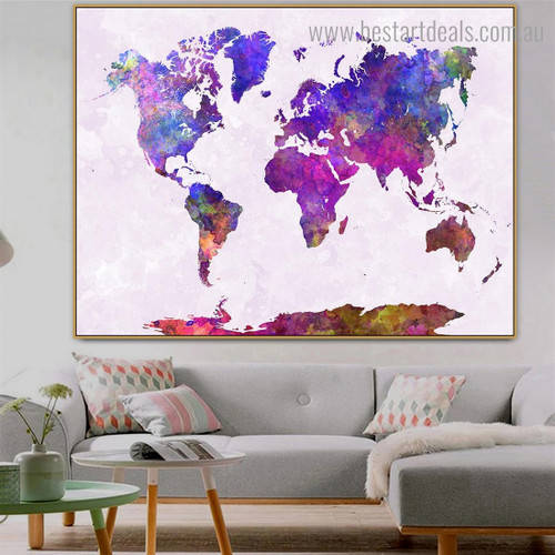 Multicolor World Map Abstract Watercolor Modern Framed Painting Picture Canvas Print for Room Wall Garnish