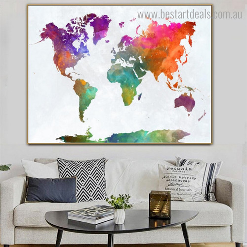 Calico Global Mapping Abstract Watercolor Contemporary Framed Painting Pic Canvas Print for Wall Drape