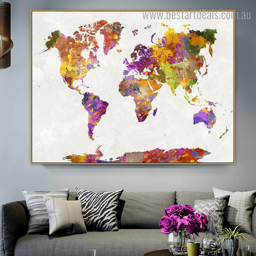 Colorful Global Map Abstract Watercolor Modern Framed Painting Image Canvas Print for Wall Drape