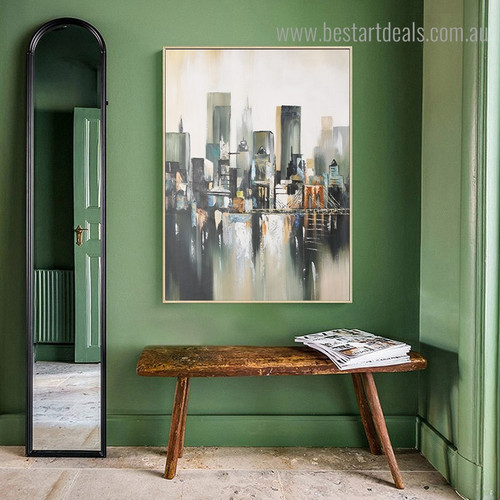 Manhattan Bridge Abstract Cityscape Modern Framed Painting Picture Canvas Print for Room Wall Decor