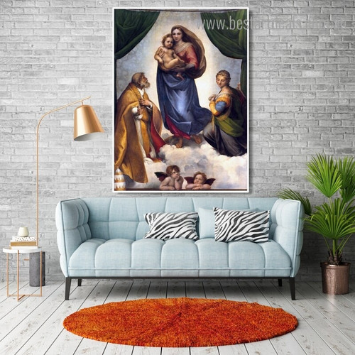 Sistine Madonna Raphael Religious Reproduction Framed Artwork Pic Canvas Print for Wall Decor