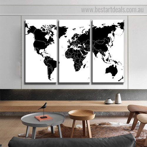 Black and White World Map Abstract Modern Framed Portraiture Photo Canvas Print for Room Wall Ornament