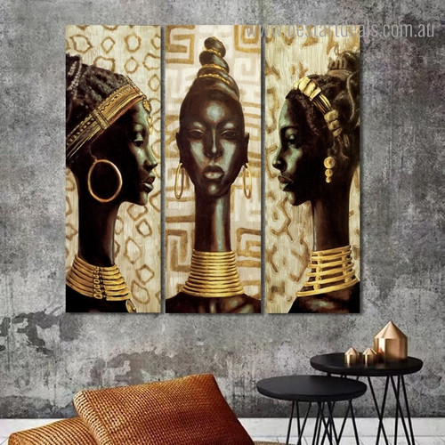 African Indigenous Women Abstract Panoramic Framed Portrayal Photo Canvas Print for Room Wall Onlay
