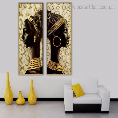 African Women Abstract Figure Panoramic Framed Painting Photo Canvas Print for Wall Garnish