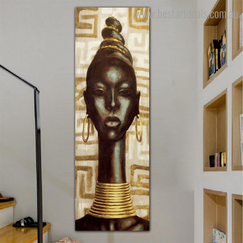 African Home Grown Lady Abstract Panoramic Framed Painting Pic Canvas Print for Room Wall Flourish