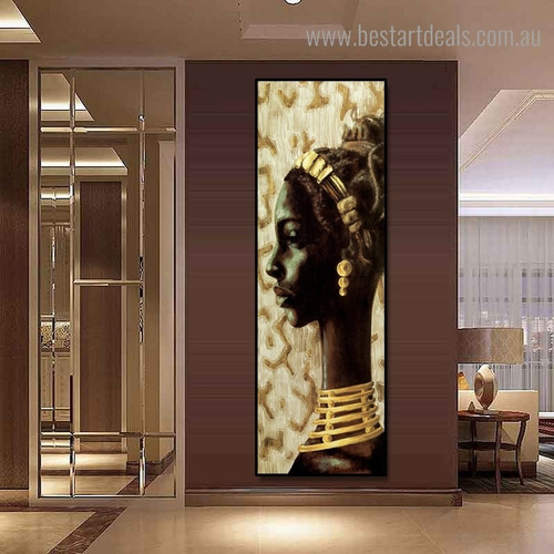African Dame Abstract Panoramic Framed Artwork Portrait Canvas Print for Room Wall Finery