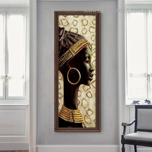 African Female Abstract Figure Panoramic Framed Painting Portrait Canvas Print for Wall Getup